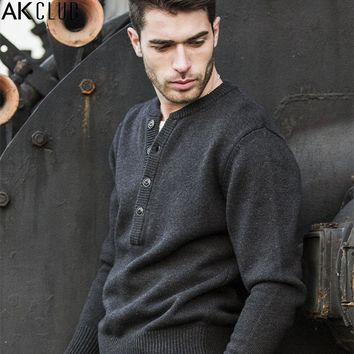 Sweater For Men Casual Pullover Henley Sweater Cotton Wool Knitted Sweater Fashion Warm Shoulder Spliced
