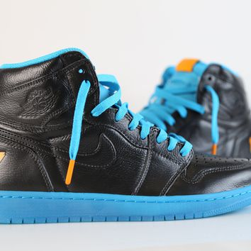 BC QIYIF Nike Air Jordan Retro 1 High OG Custom Gatorade Black Blue Lagoon AJ5997-455  size 10.5