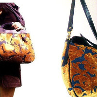 Sale-  Golden Brown and Black Floral Leaf Large Carpet Bag with Leather Top Handle & Removable Strap