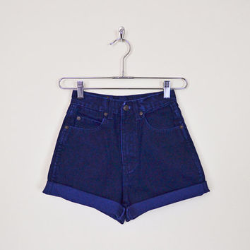 Vintage 80s 90s Dark Navy Blue High Waist Shorts Jean Shorts Denim Shorts Cut Off Shorts Cutoff Shorts Cuff Shorts Grunge XXS Extra Small