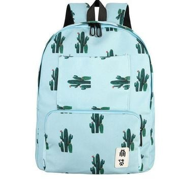 2017 New Female Fashion Canvas Backpacks Women Leaves Cactus Printing Rucksack Retro Casual School Bags Travel Bags Mochila