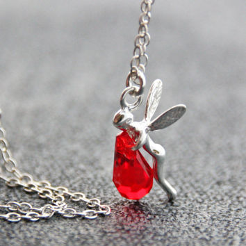 Red Crystal Silver Necklace Sterling Silver Pixie Pendant Light Siam Crystal Swarovski Necklace Jewelry January Birthstone Fairy Charm