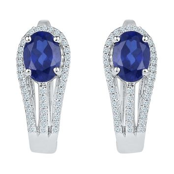 10kt White Gold Womens Oval Lab-Created Blue Sapphire Diamond Hoop Earrings 2-5/8 Cttw