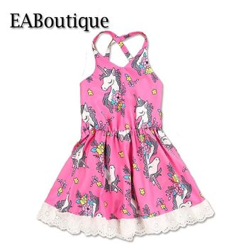 EABoutique Summer Girls Clothes Beach Desses Fashion Unicorn Party Pattern Sexy Lace Up Back design Baby Girl Dress