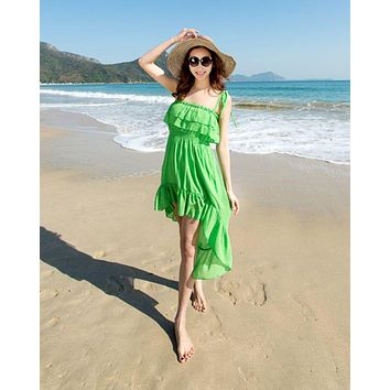 DCCKJ1A HOT GREEN FRONT SHORT BACK LONG BEACH DRESS