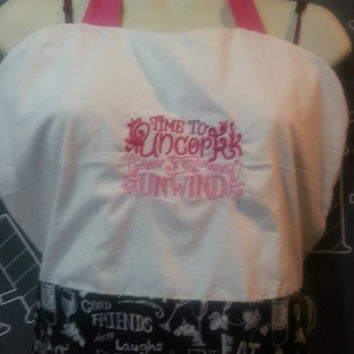 Beautiful Handmade Vintage Inspired Pin-Up Girl Apron  With Sassy Embroidery Wine Collection