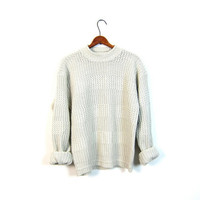 Slouchy 80s Simple Creamy White Sweater Normcore Loose Knit Chunky Boyfriend Pullover 1980s Basic Fall Jumper Grunge Large Medium