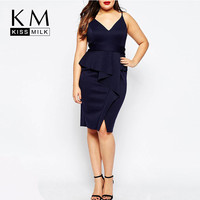 Plus Size V Neck Fishtail Dress