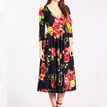 Vintage Inspired Rose Print Navy Swing Dress