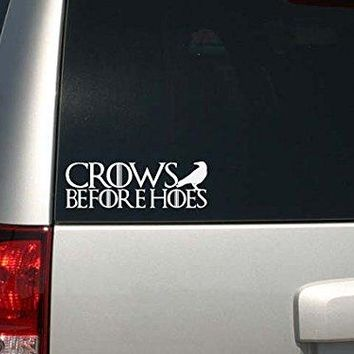Game of Thrones Inspired Parody Crows Before Hoes Car or Laptop Decal Sticker