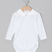 Hug Me First White Peter Pan Collar Pima Bodysuit - Infant & Toddler | zulily