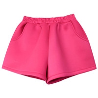 ROMWE Twin Front Pockets Rose Red Shorts