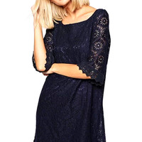 Crochet Lace Mini Dress with Sleeve