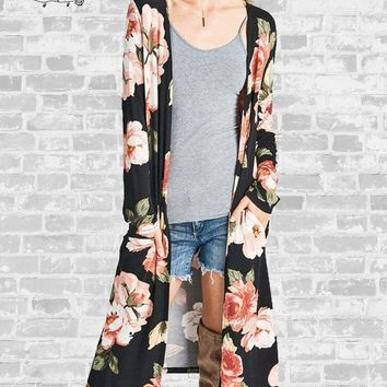 Long Floral Cardigan - Black - Small or Medium only