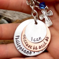 Bible Verse Jewelry Scripture Jewelry - Philippians 4 13- Faith Jewelry - Baptism Gifts - gift from godparents - Bible Verse Print-god child