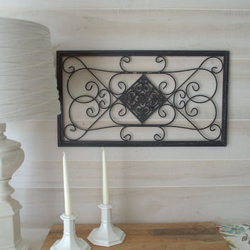 Wrought Iron Metal Wall Decor, Black Metal Wall Art,  Shabby Chic Wall Decor, Wrought Iron Wall Art