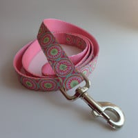 "Spring Colors Dog Leash - Matching Dog Lead for Pretty Spring Collars 1"" wide - choose your length"