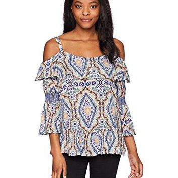Democracy Womens Printed Cold Shoulder Top With Smocked Sleeve