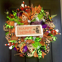 Halloween mesh wreath, Happy Halloween Deco Mesh Wreath, Halloween  deco mesh wreath, Halloween wreath, front door wreath