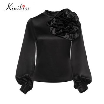 Kinikiss Women Elegant Satin Blouse Shirts Appliques Flower Design Stand Collar Shirt Tops Office Ladies Vintage Elegant Tops