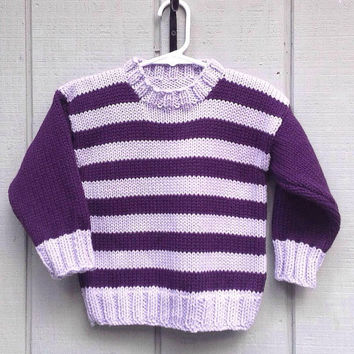 Girls sweater - 2 to 3 years - Kids striped jumper - Kids knit clothing - Childrens sweater