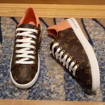 Louis Vuitton LV Fashion Women Print Leather Old Skool Flats Shoes Sneakers I