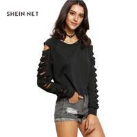 Sheinnet Apparel Black Women T-Shirts Cut Out Casual Slim Ladies Tops Long Sleeve Hole Preppy Style Spring Tees T-Shirt Femme