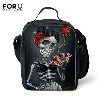 Vintage Thermal Insulated Lunch Bag for Women Men Boys Girls Skull Head Insulation Lunch Box Outdoor Picnic Food Cooler Lunchbox