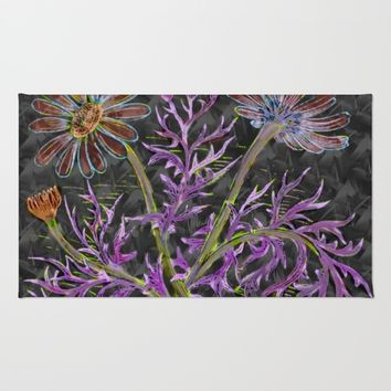 psychedelic blooming flowers Rug by Scott Hervieux