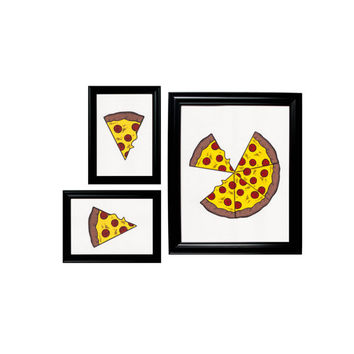 Gallery Wall Collage 3 Prints Framed Wall Hangings - Pizza and Slices Set