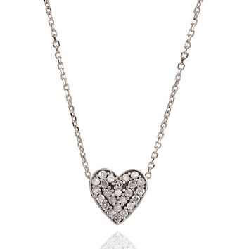 Adina Reyter Solid Pave Heart Necklace