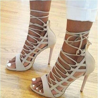 Strappy Lace Up High Heel Sandals 3 Colors
