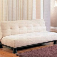 Beige Finish Futon Sofa Bed Klik Klak Microfiber Bed by Coaster Home Life s265