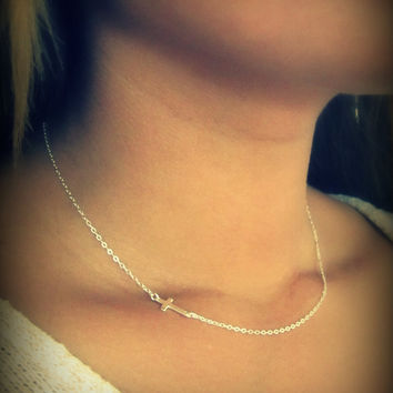 Tiny Sideways Cross Necklace in Sterling Silver