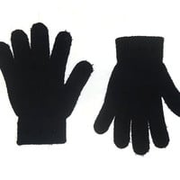 Black Gloves Knitted Wool Winter Fashion Accessories with Gunmetal Cone Bullet Spikes