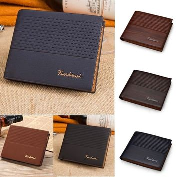 Men\'s Fashion Money Pockets Credit/ID Cards Holder Purse Synthetic Leather Wallet
