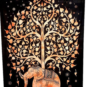Twin Size Tree Elephant print 100% Cotton Bed cover, Tapestry ,Bed Sheet, Throw, Wall Hanging, Wall Hanging, Wall Decorative Art