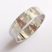 White gold wedding band ring with an off centered line of cubes hammered men women