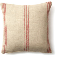 French Laundry Home, Striped 20x20 Linen-Blend Pillow, Red, Decorative Pillows