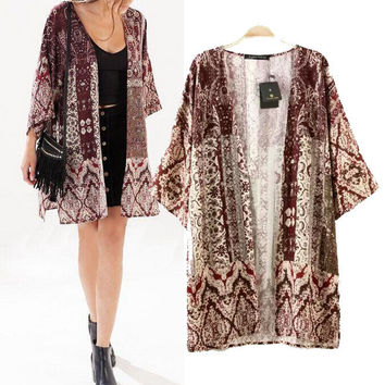 Stylish Vintage Print Three-quarter Sleeve Women's Fashion Tops Jacket [5013242308]