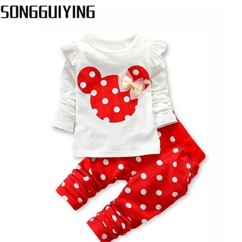 SONGGUIYING A01 Baby Sets Dot Long Sleeve Cotton Toddler Baby Girl Clothes Children Set Bowknot T-Shirt+Pant Summer Clothing Set