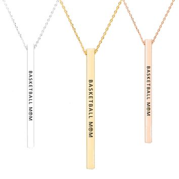 Basketball Mom Message Bar Necklace - Silver, Gold, Rose Gold