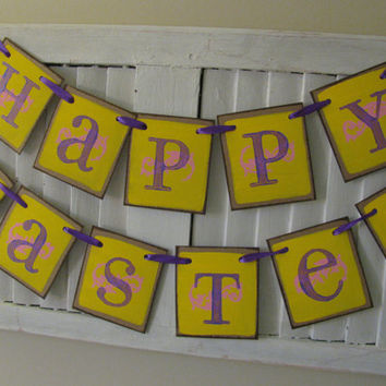 Happy Easter Banner in Yellow Pink and Purple Color Block Primitive Follk Art Easter Garland Great Photo Prop