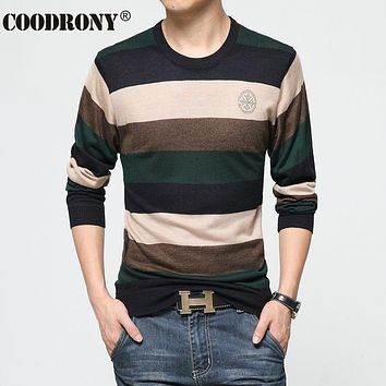 Winter Wool Sweater Men Fashion Striped Slim Fit Pull Home Marque Pullover Men Sweaters Jersey Hombre