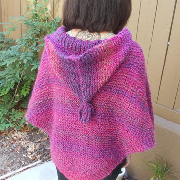 Knitted Poncho - Hand Knit Poncho - Hooded Poncho - Purple Poncho - Knitted Cape - Cape with Hood - Vegan - Gift for Her - Free US  Shipping