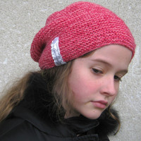 Hand knitted slouchy beanie Knitted slouchy hat Hipster's pink hat Womens knitted hat