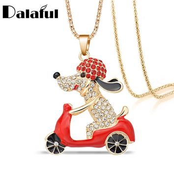 Lovely Dog Motorcycle Biker Crystal Rhinestone Long Chain Necklaces Pendants For Women Gift M378