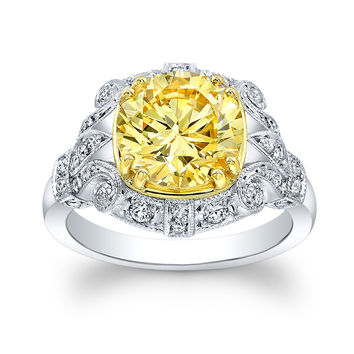 Women's 18k yellow gold and platinum vintage antique diamond engagement ring w/3.50ct round yellow Lannyte center 0.40 carats G-VS2 diamonds