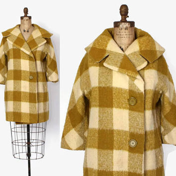 Vintage 60 WINTER COAT / 1960s Chartreuse & Ivory Shaggy Mohair Wool Jacket