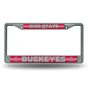Ohio State Buckeyes NCAA Bling Glitter Chrome License Plate Frame